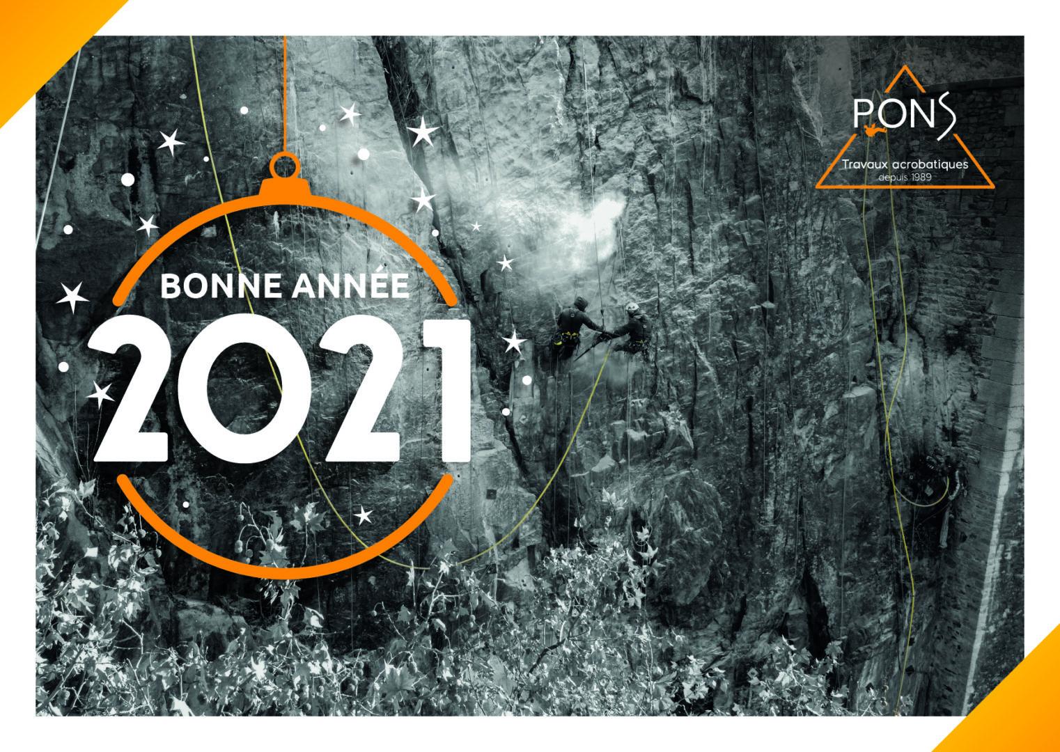 Carte de voeux 2021 Pons travaux acrobatiques cordiste