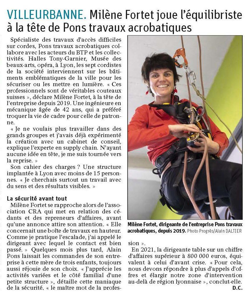 Le Progrès Économie Pons Travaux acrobatiques 2021